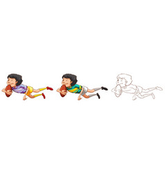 Man playing rugby in three different drawing vector