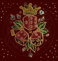 set of dices and crown on red background vector image vector image