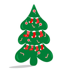 the christmas tree is decorated with sweets and vector image