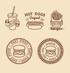 Vintage fast food logos set retro eating vector