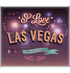 Vintage greeting card from Las Vegas vector image
