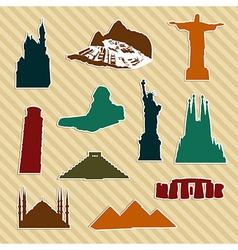World landmark silhouettes vector image vector image