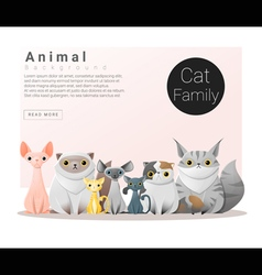 Cute animal family background with cats 1 vector
