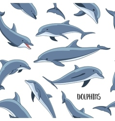 Dolphins set pattern vector image