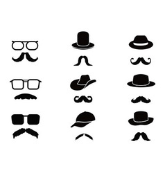 Invisible man with mustache glasses and hats vector image vector image