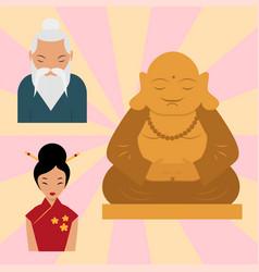 budda statue from thailand harmony budha culture vector image