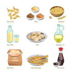 soy containing products colorful poster on vector image