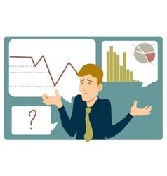 Uncertain businessman shrugs shoulders vector image