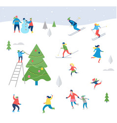 winter sport scene with people having fun vector image