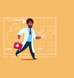 african american emergency doctor run with vector image vector image