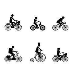 bike riders Silhouettes vector image