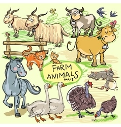 Farm animals hand drawn collection part 1 vector image