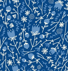 Field flowers doodle pattern 4 vector image vector image