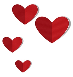 Red cardboard hearts with word love isolated on vector image vector image