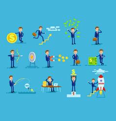 set of businessmen achieving success money concept vector image