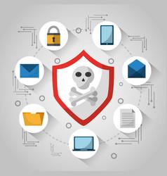 shield skull and bones technology virus danger vector image vector image