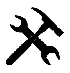 Wrench and hammer the black color icon vector