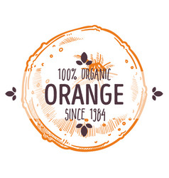 100 percent organic orange label with whole ripe vector image