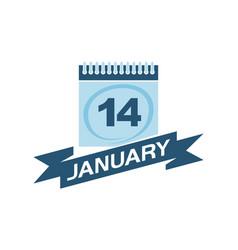14 january calendar with ribbon vector