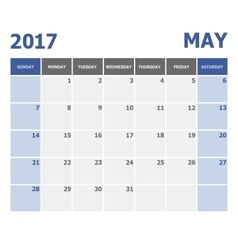 2017 May calendar week starts on Sunday vector