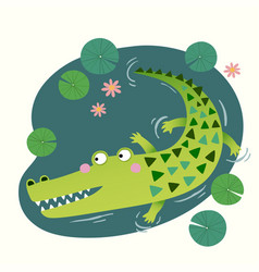 a cute crocodile in pond vector image