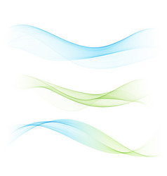 Abstract blue and green waves set vector