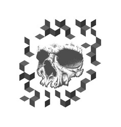 abstract dotwork grunge skull tattoo design vector image