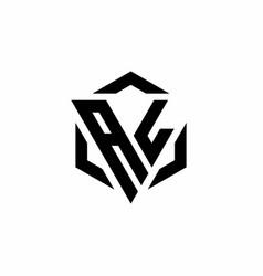 Al logo monogram with triangle and hexagon modern vector