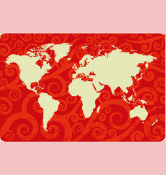 antique world map over swirls background red and vector image