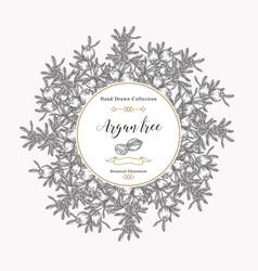 argan tree argania spinosa round frame nuts vector image