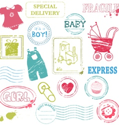 Baby stamp collection in color vector