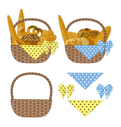 baskets bread vector image