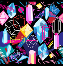 Beautiful seamless pattern with colorful crystals vector