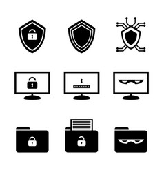 Black and white icon set of cybersecurity vector