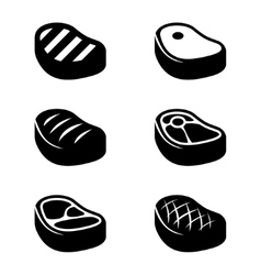 black steak icons set vector image