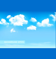 Blue sky background with fluffy or cumulus clouds vector