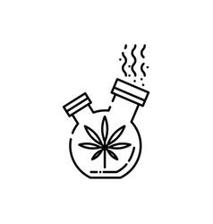 bong for smoking cannabis line icon - outline vector image