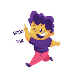Boy with purple hair saying goodbye sticker on a vector