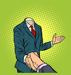 businessman handshake a template without a head vector image