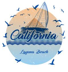 California laguna beach summer t shirt graphic vector