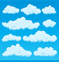 cartoon different types clouds icon set on a blue vector image