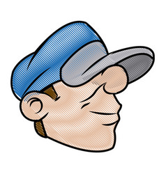 cartoon head young guy graffiti with blue cap vector image