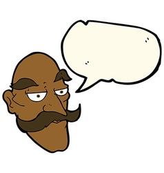 Cartoon old man face with speech bubble vector