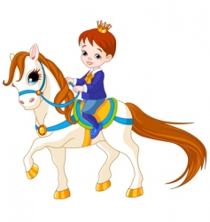 cartoon prince on horse vector image