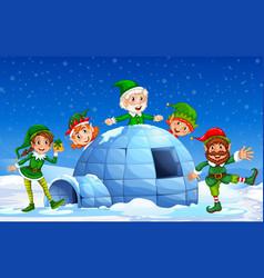 Christmas elf in winter background vector