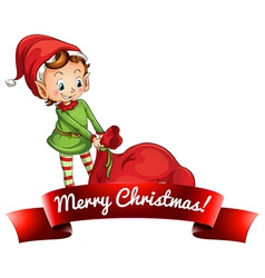 Christmas logo with elf vector image