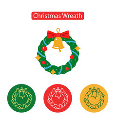 christmas wreath icon vector image