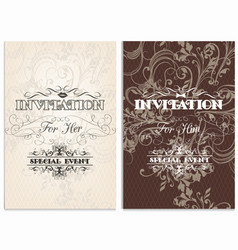 classic weddings cards with swirl ornament vector image