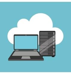 cloud laptop data server vector image