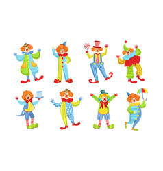 collection happy funny clowns in action poses vector image